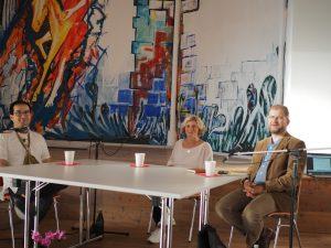 Diskussionsrunde mit Karl Schimkowski, Bärbel Engelmann und Peter Amsler (Moderation)