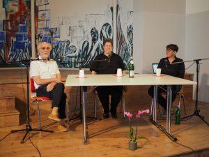 Diskussionsrunde mit Peter Spiegel, Elaine Rudolphi und Tanja Berg (Moderation)